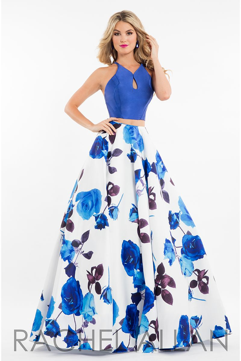 7583 - Two-piece mikado ballgown with floral print and solid crop ...