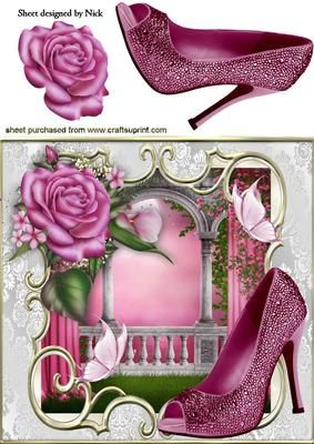 PINK SPARKLE SHOES WITH ROSES AND BUTTERFLIES 8X8 on Craftsuprint - Add To Basket!