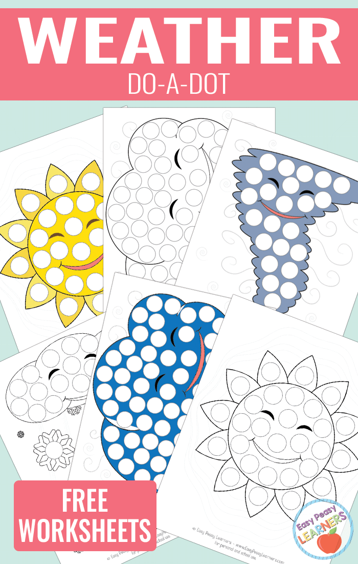 Lovely Weather Do a Dot Printables sun, cloud, tornado