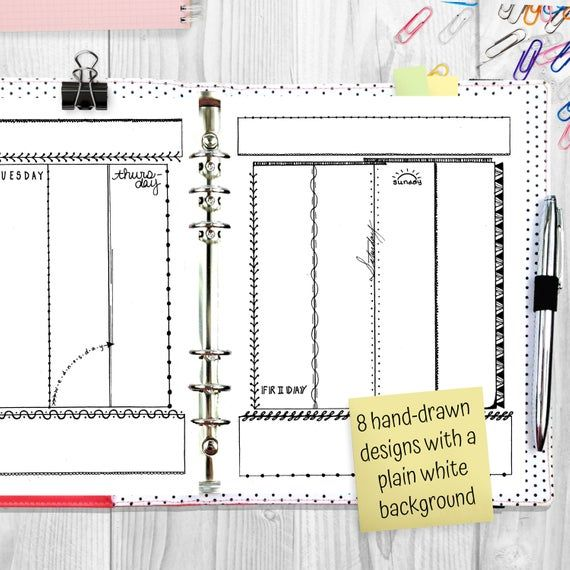 Doodle Themed Hand Drawn Printable Planner, Decorated