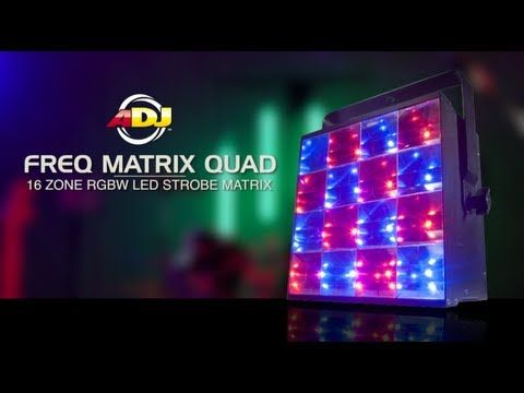 ADJ Freq Matrix Quad: 2-FX-IN-1: Traditional RGBW LED Strobe/Blinder + 16-Zone chase effect. 16x 8-Watt 4-in-1 RGBW LEDs (30,000 hr. rated). #rgbwledstrobe #rgbwledblinder #strobe #rgbwstrobelighting #colorstrobe