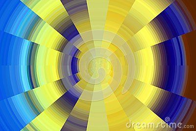 Contrast hypnotic circles in yellow, blue and brown hues, circular hypnotic design.