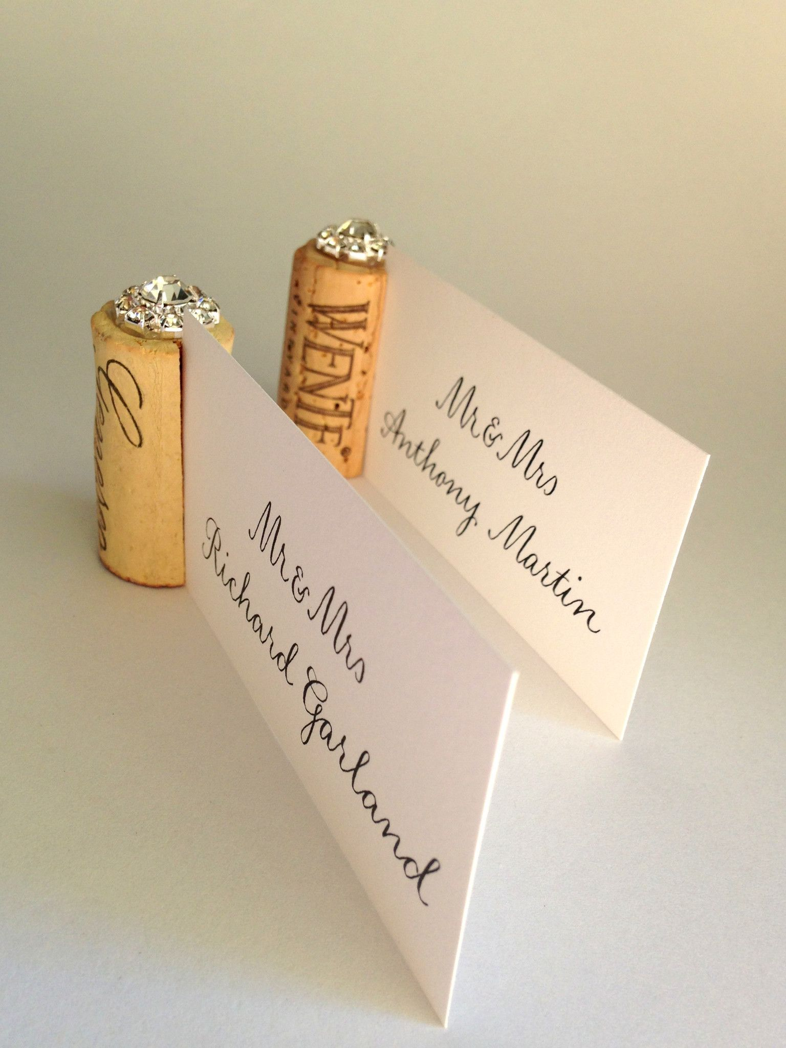 Gemstone Vertical Cork Wedding Place Card Holder Cork Wedding