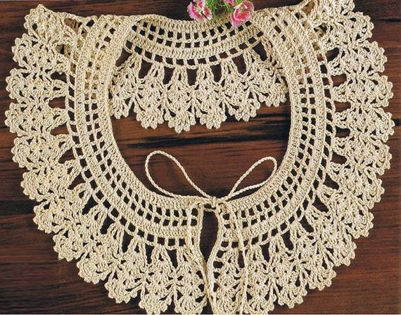 Crochet Collar Pattern Vintage 70s Crochet Neckline Collar Pattern