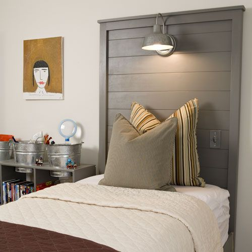 T new room bed great idea for diy headboard love the galvanized lamp for reading and the light switch by the bed