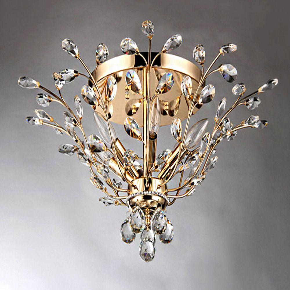 Ava 6 Light Gold Indoor Crystal Flush Mount Rl8024 The Home Depot
