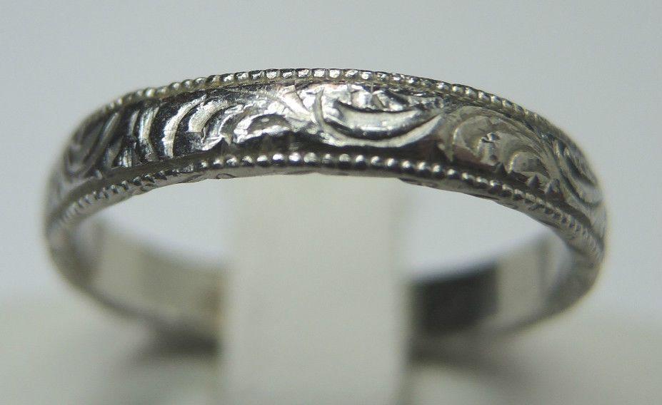 Estate B N Platinum Wedding Band Engraved Size525 UKK 318 mm