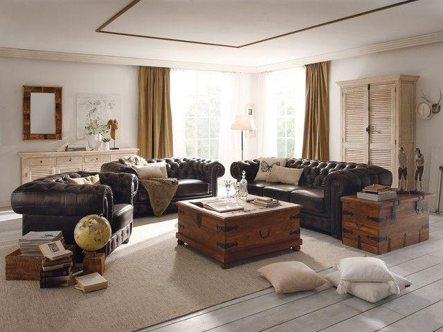 Sofagarnitur Chesterfield Echtleder braun von massivumde - wohnzimmer dekoration braun