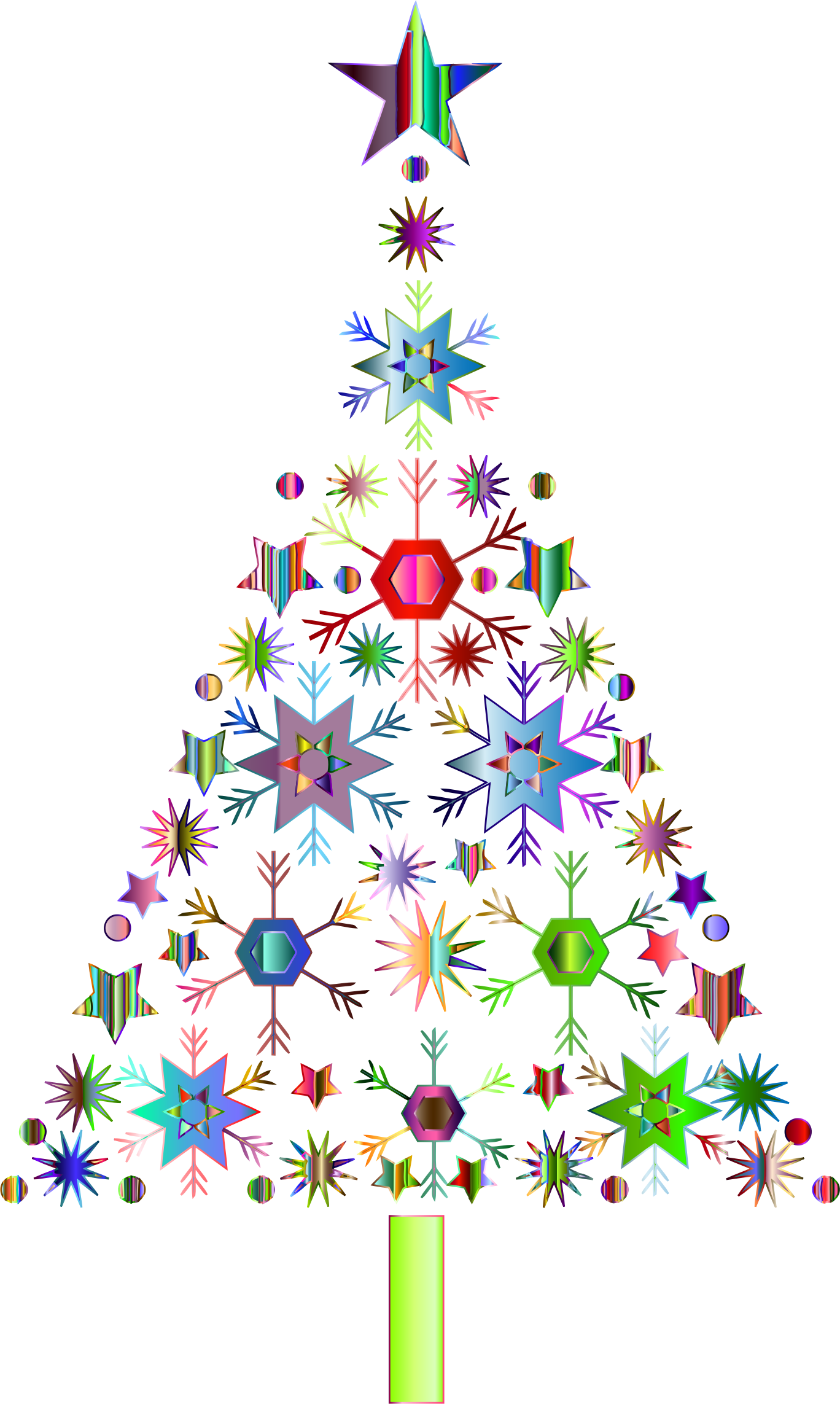 Abstract Snowflake Christmas Tree By Karen Arnold Prismatic 2 No Background By Gdj Amazing Christmas Trees Christmas Tree Pictures Christmas Tree Images
