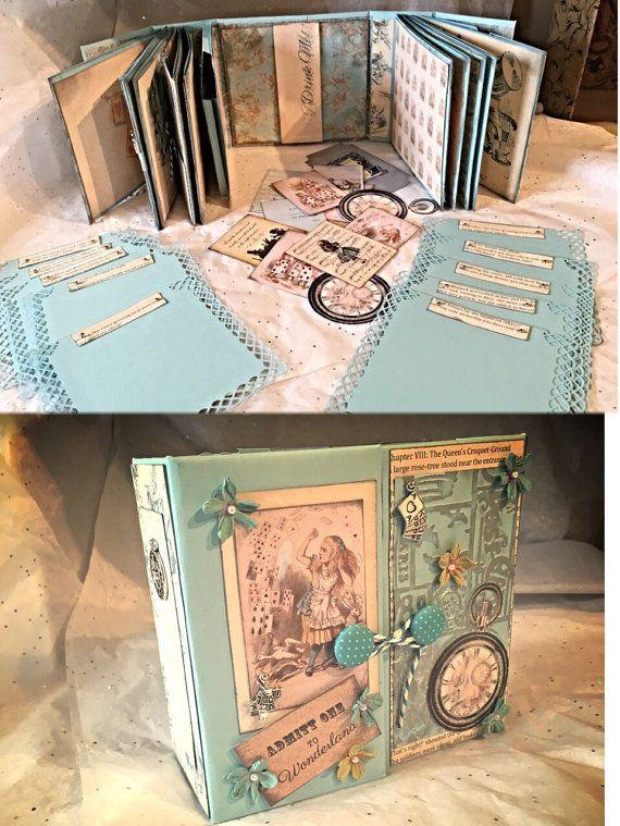 Handmade Vintage Alice In Wonderland Gatefold Scrapbook Photo Album