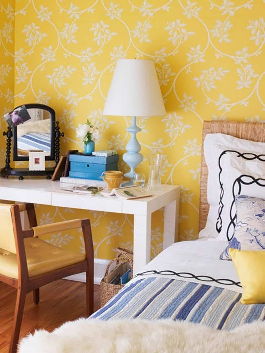 Decorating The Walls With Bedroom Wallpaper Yellow Bedroom