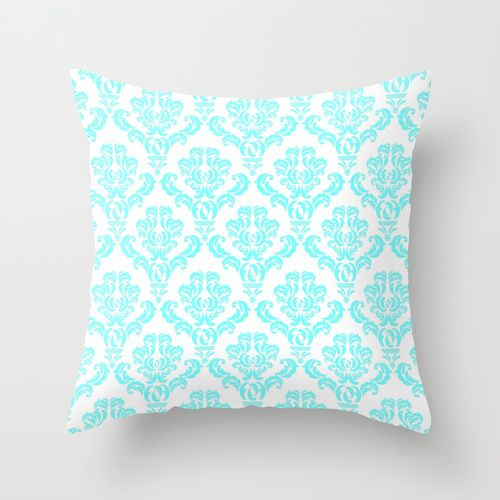 Damask Aqua Blue Throw Pillow By My Pretty Home By Monika Strigel