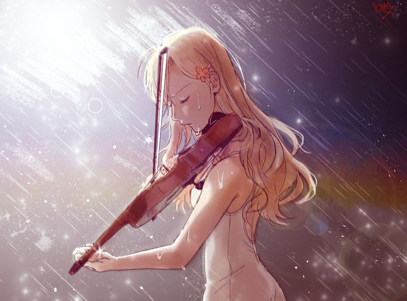 Anime Girl Kaori Miyazono Cry In Rain Wallpaper