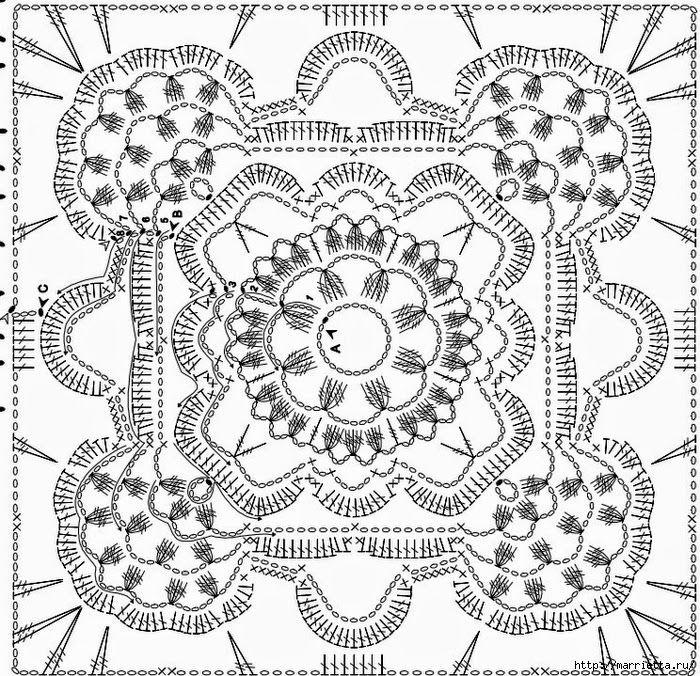 Patrones de carpeta española de diseño cuadrado para tejer con ...