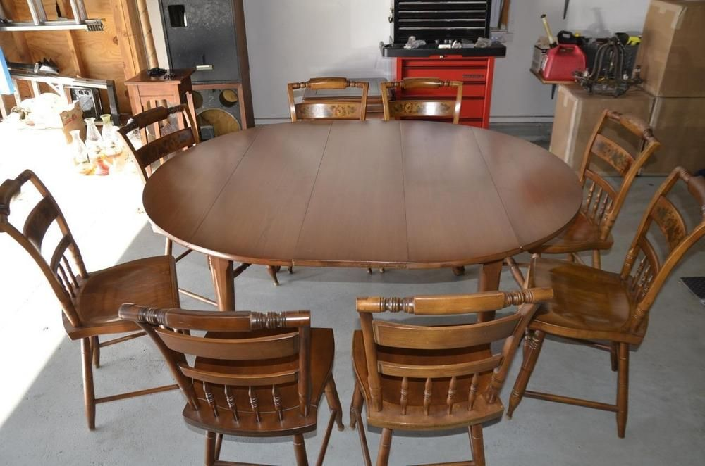 Details About Vintage Hitchcock Dining Set Oval Table With 4