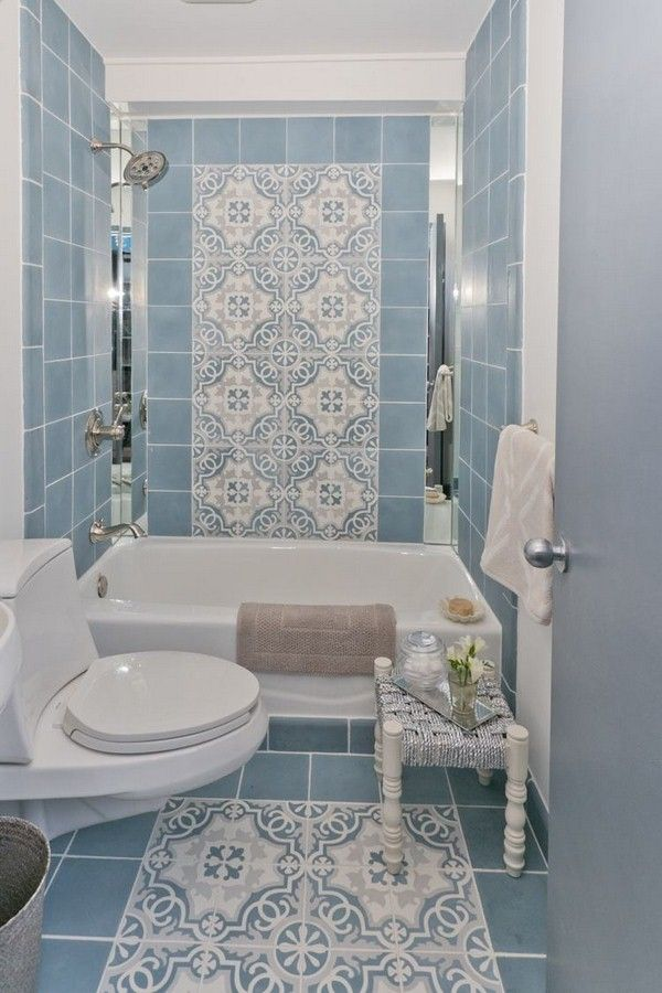 tile bathroom Mediterranean baby blue white loo bath stool ...
