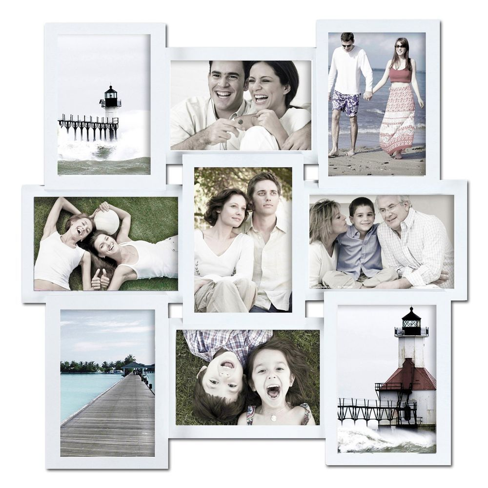 DecentHome 9-Opening Wood Collage Wall Hanging Picture Frame,White ...