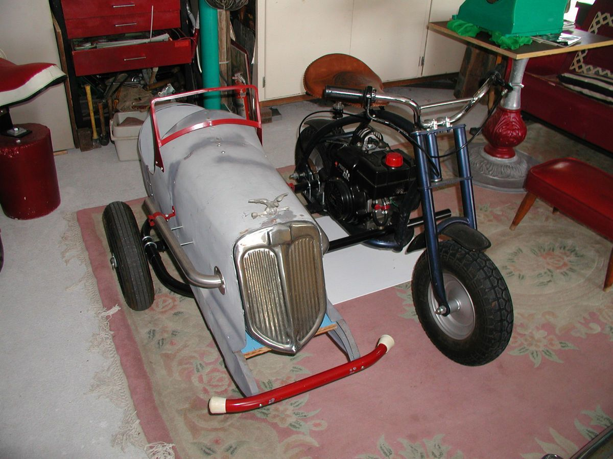1930s Pedal-car sidecar hooked to a Mini-bike | Scooter's ...