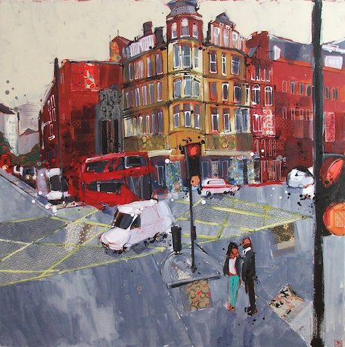 """london, by bus  mixed media on canvas, 36"""" x 36""""   SOLD   2014"""