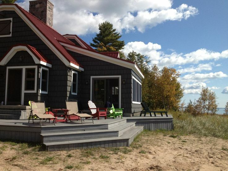 Image result for black exterior red roof | House colors | Pinterest