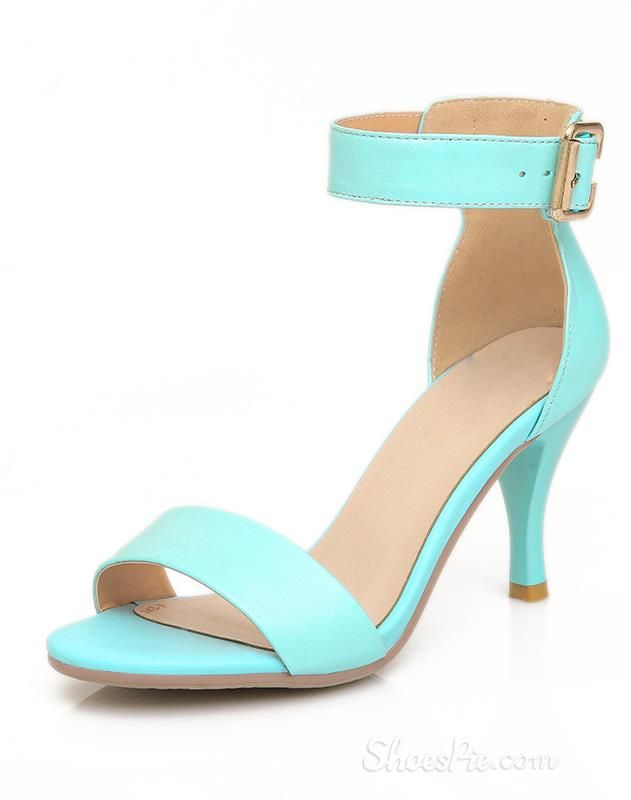 High-End Solid Color Low Heel Ankle Strap Sandals