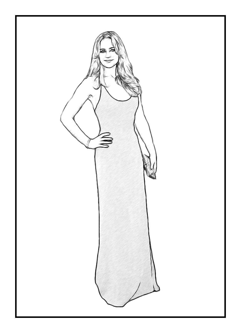 jennifer lawrence celebrity coloring page by dan newburn