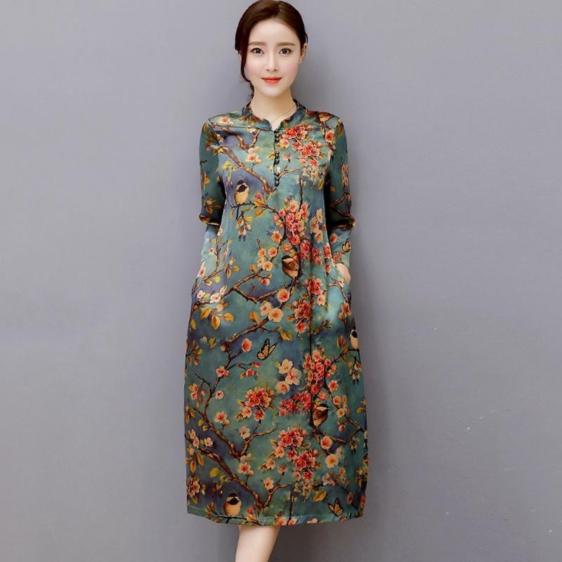 Dress Women Mulberry Silk Plus Size O Neck Women Floral Antique