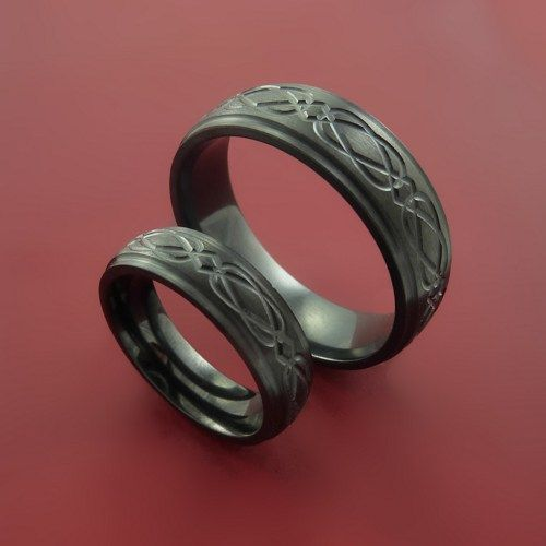 Black Zirconium Celtic Bands Infinity Wedding Ring Set Custom Made ...