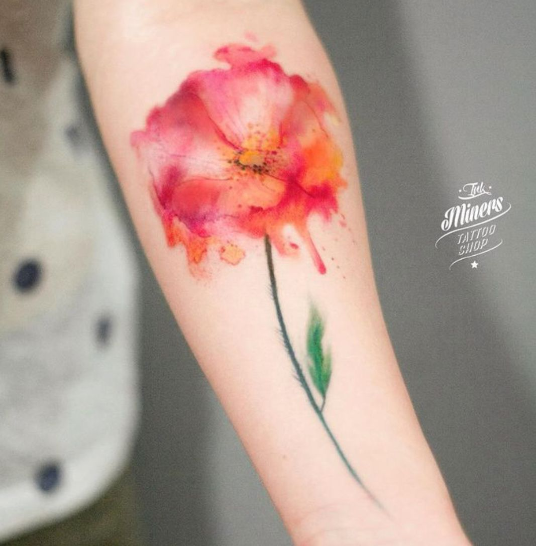 Watercolor Poppy Tattoo Watercolor Tattoo Flower Tattoos Diy