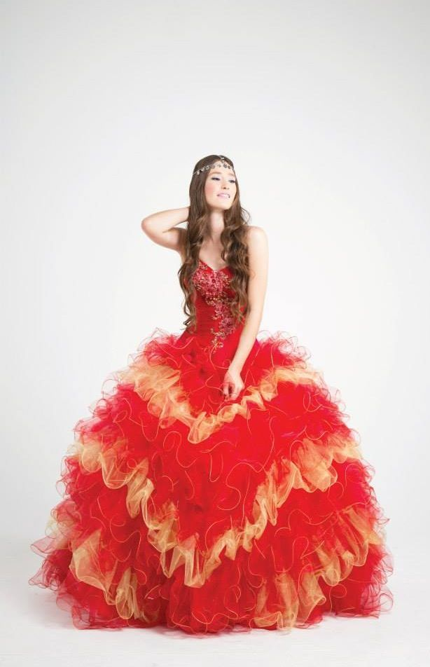 2924c9a1708 Fun red and gold Quinceanera dress. perfect for a boho chic theme ...