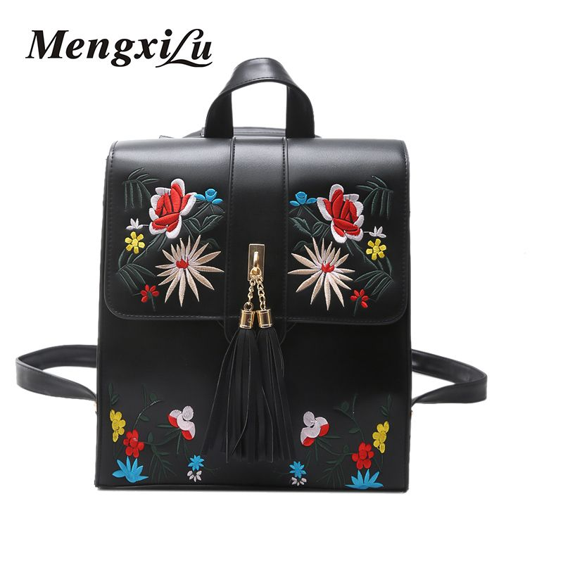 81f83209c5 MENGXILU Embroidery Women Backpacks High Quality Tassel Women PU Leather  Backpacks For Teenage Girls Big Female School Bagpacks