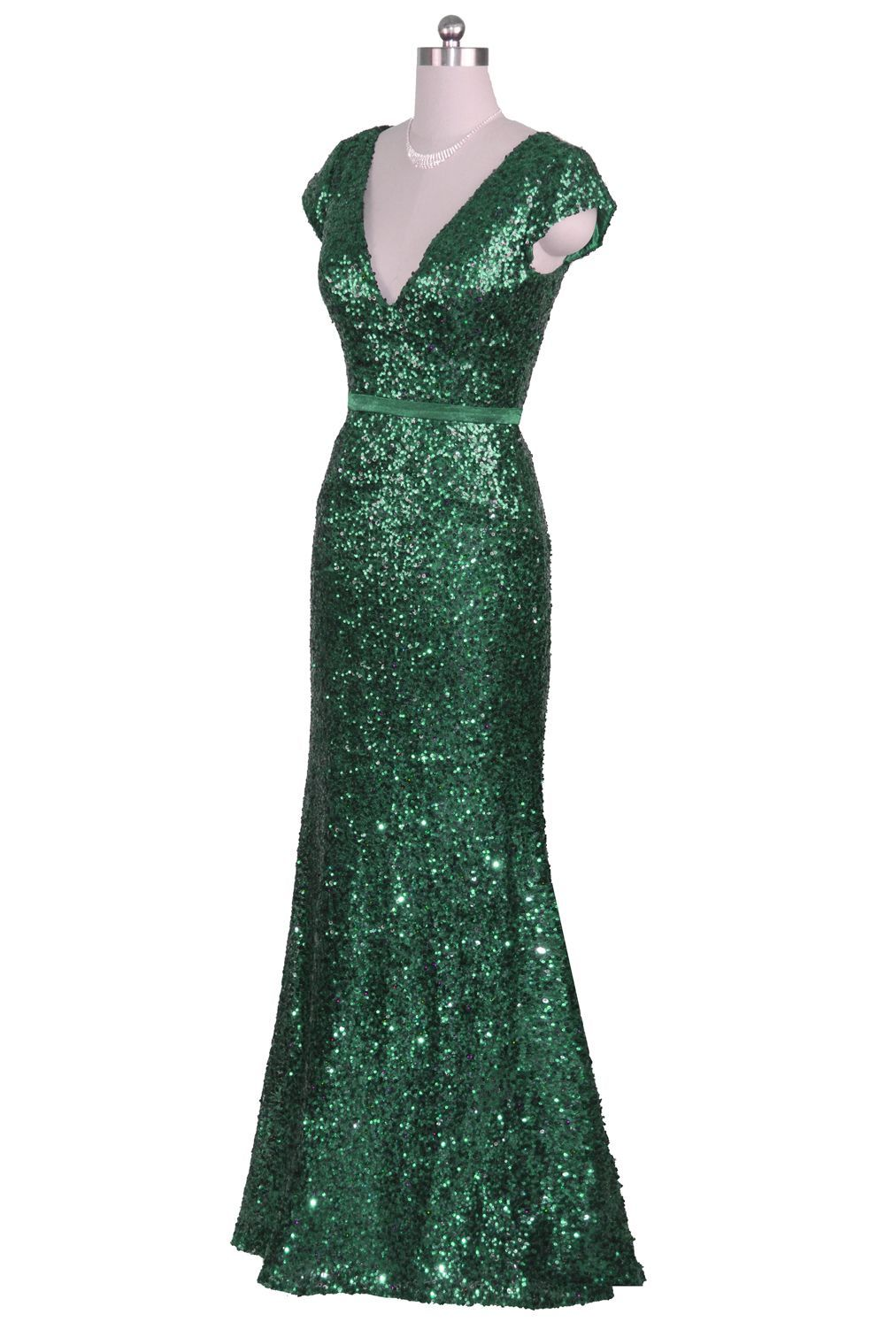 Qpid showgirl pale gold sequin flowing evening dress with cap