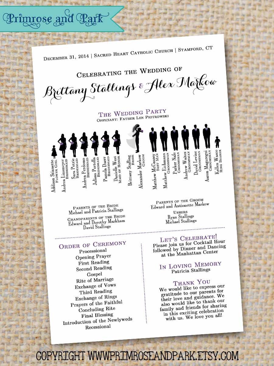 Silhouette Wedding Program Sample Pdf Instant Download By