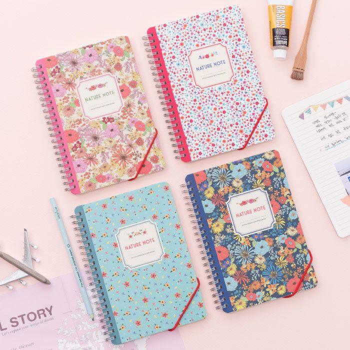 Wirebound flower nature lined notebook medium