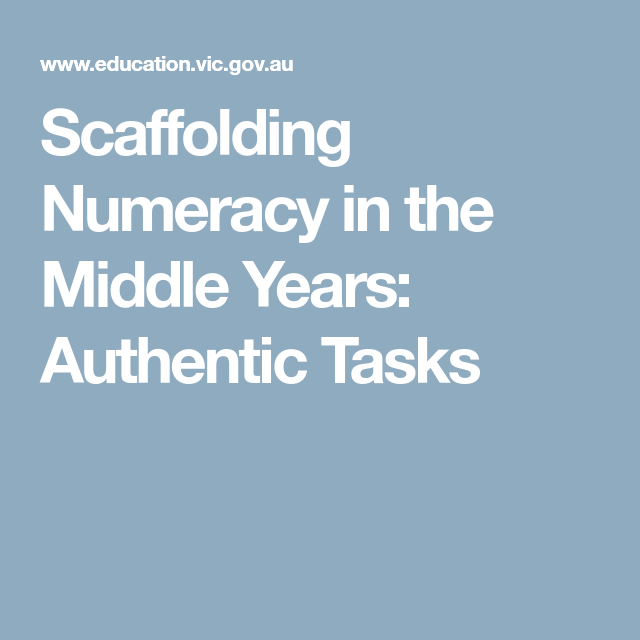Scaffolding Numeracy in the Middle Years: Authentic Tasks | Math ...
