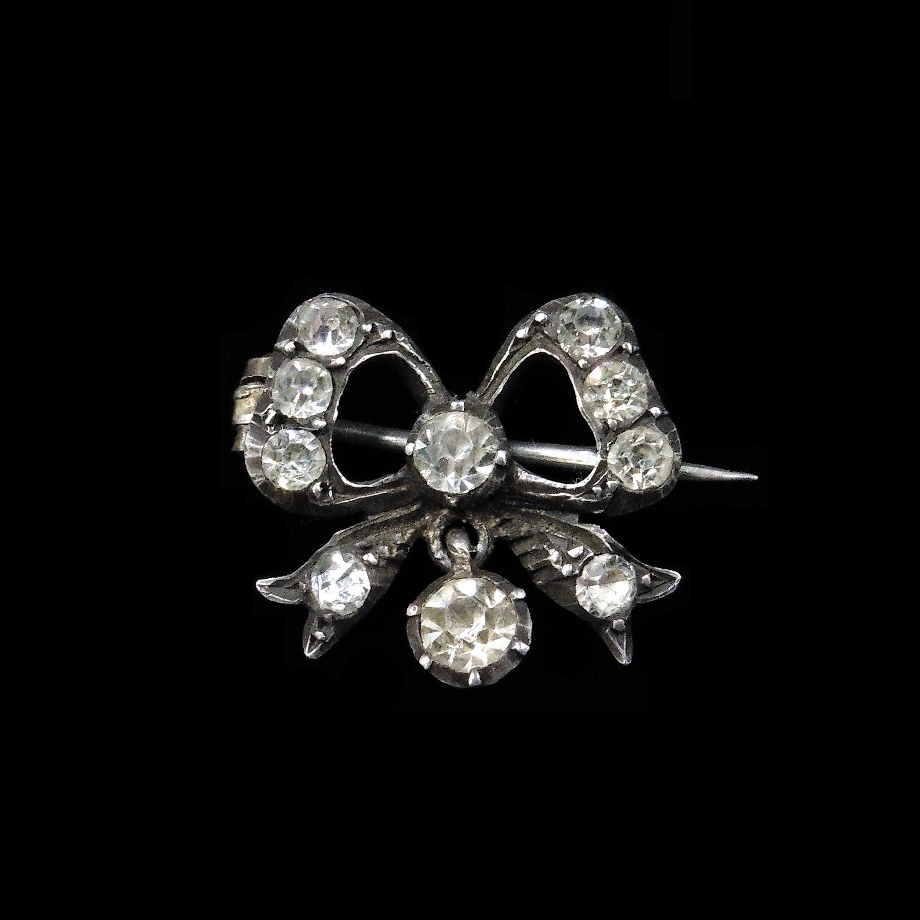 Antique Sterling Paste Diamond Bow Brooch