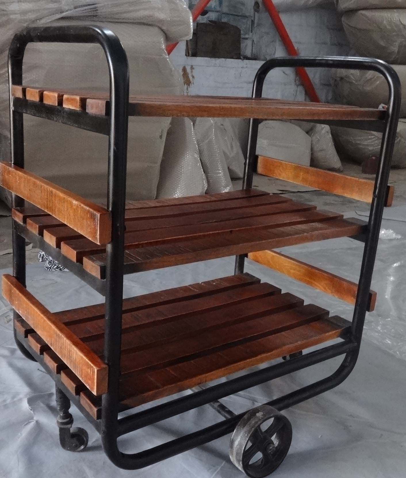 iron industrial furniture. industrial trolley mango wood shelves with cast iron wheels kitchen furniture in design i