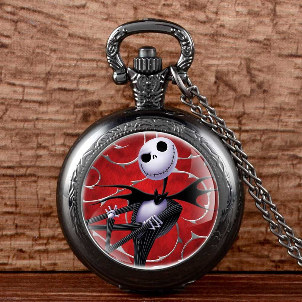 Antique Black Nightmare Before Christmas Pocket Fob Watch Necklace ...