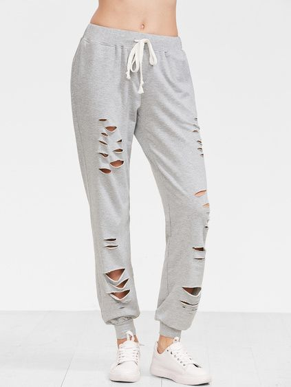 02e2766a00e301 Heather Grey Distressed Drawstring Sweatpants | Cute Ronwe Clothes ...
