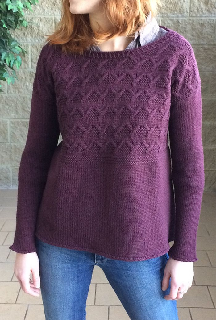 Free Knitting Pattern for Cable Yoke Pullover - 12 row repeat cable ...