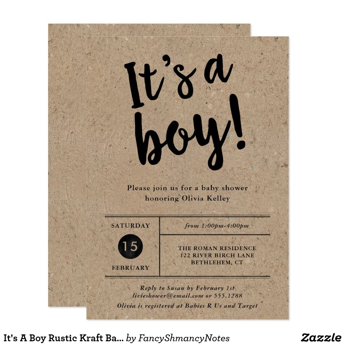 It\'s A Boy Rustic Kraft Baby Shower Invitation This trendy It\'s A ...