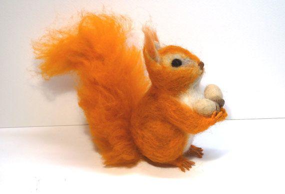 Nadel gefilzt Tier, Filz Eichhörnchen, gefilzte realistische Eichhörnchen #felttoys