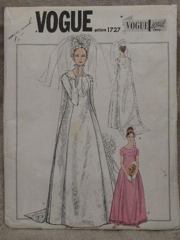 60s Vintage Vogue Bridal Gown Sewing Pattern Mod Sheath Wedding