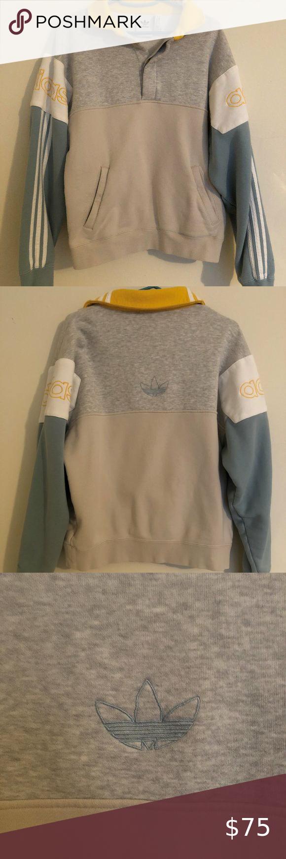 Adidas Colorblock Rugby Sweatshirt Sweatshirts Adidas Sweater Sweaters Crewneck [ 1740 x 580 Pixel ]