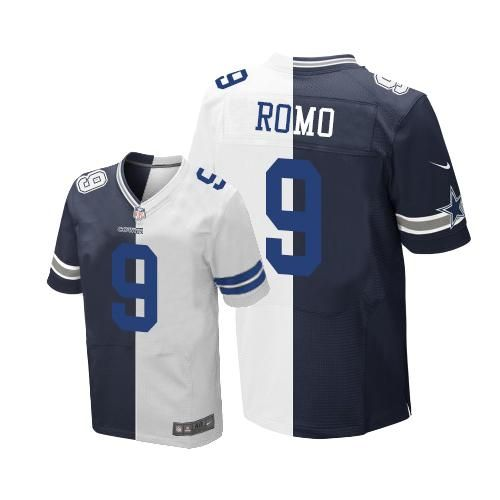 21 Nike Cowboys  9 Tony Romo Navy Blue White Men s Stitched NFL Elite  Split Jersey e2f22b67f