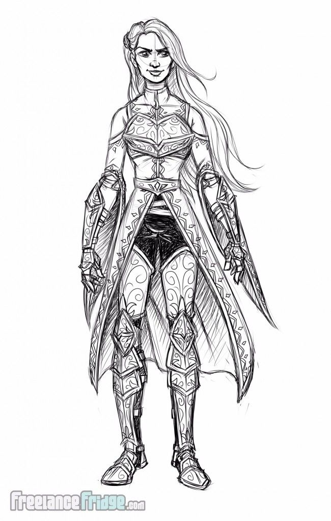 Female Knight Warrior Woman wearing armor cloak character ...