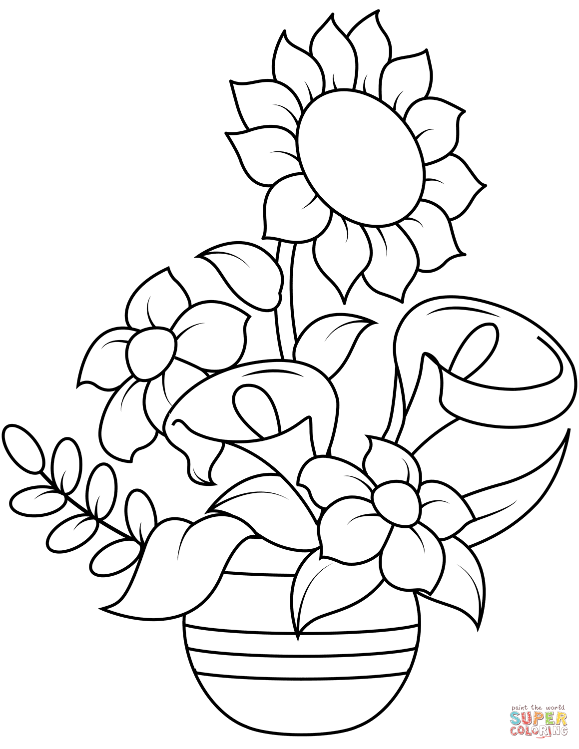 Sunflower And Callas Super Coloring Flower Coloring Pages Flower Drawing Coloring Pages