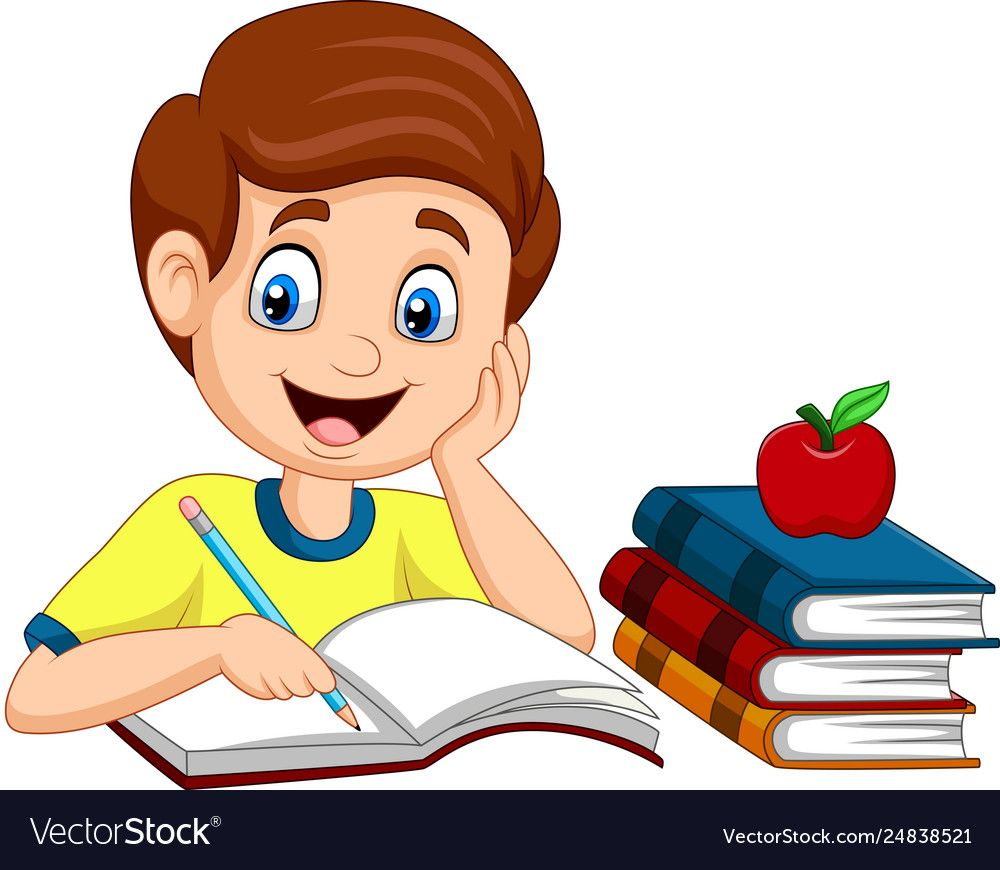 vector Illustration of Cartoon little boy studying