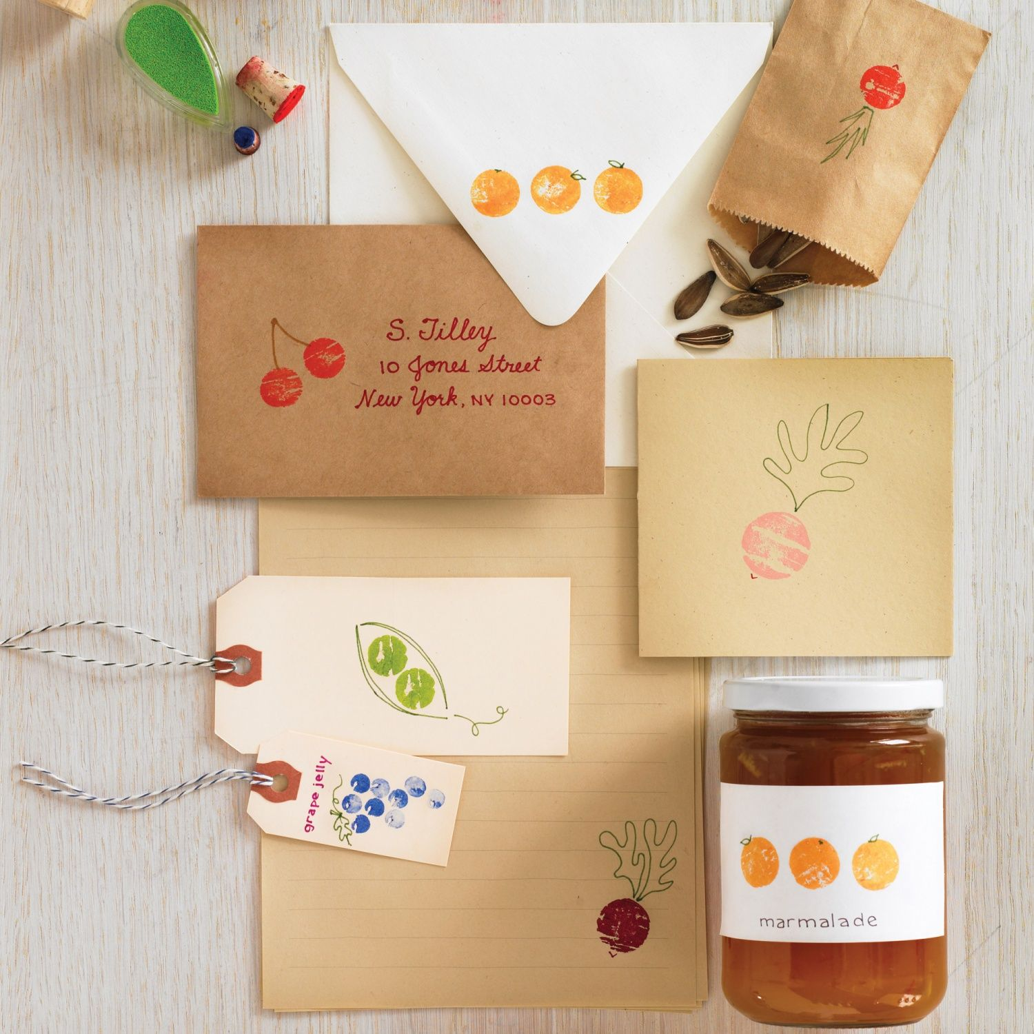 Graphic fruit and vegetable motifs are in season now. but rather than investing in garden-variety rubber stamps, repurpose a few corks. Just add ink and a little imagination for custom party invitations, stationery, gift tags, and labels for your kitchen creations.