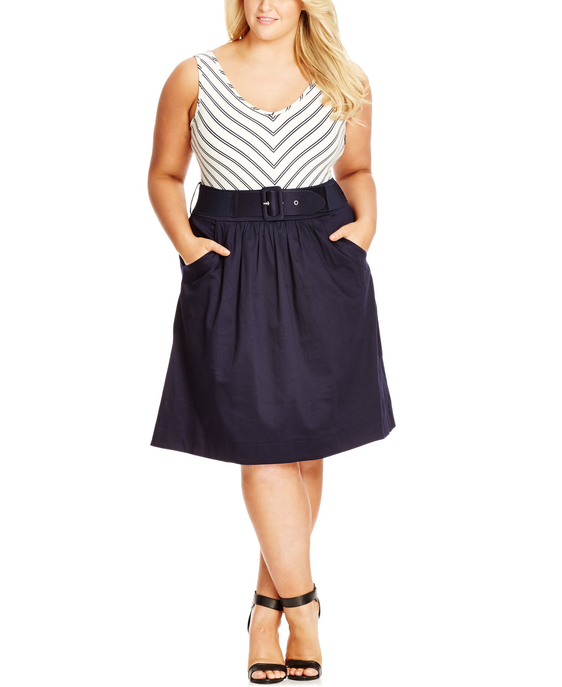 City Chic Plus Size Belted Contrast Dress